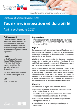 Tourisme, innovation et durabilité - Formation Continue UNIL-EPFL