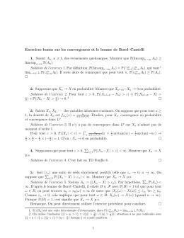 Exercices bonus sur les convergences et le lemme de Borel