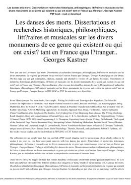 Les danses des morts. Dissertations et recherches historiques