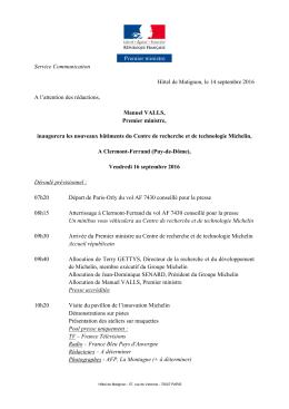 Service Communication Hôtel de Matignon, le 14 septembre 2016 A