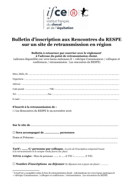Bulletin d`inscription en région