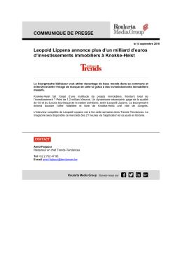 COMMUNIQUE DE PRESSE Leopold Lippens annonce