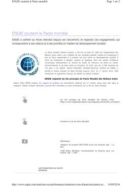 ENGIE soutient le Pacte mondial