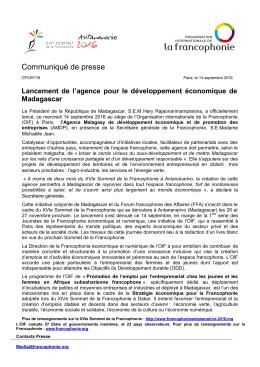Communiqué de presse - Organisation internationale de la