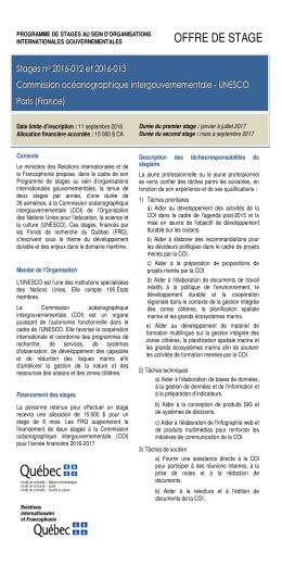 Offre de stages : Commission océanographique