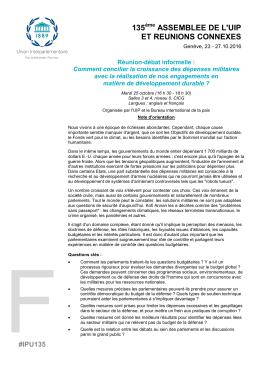 135 ASSEMBLEE DE L`UIP ET REUNIONS CONNEXES