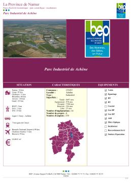 Parc Industriel de Achêne La Province de Namur