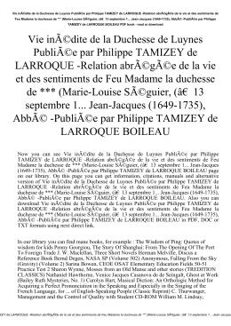 Vie inédite de la Duchesse de Luynes Publiée par Philippe