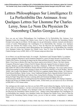 Lettres Philosophiques Sur Lintelligence Et La Perfectibilite Des