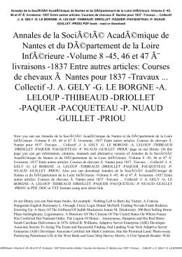 Annales de la Société Académique de Nantes et du DÃ