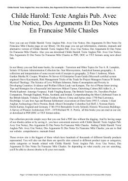 Childe Harold: Texte Anglais Pub. Avec Une Notice, Des Arguments