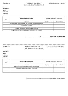 FSSEP Ronchin FORMULAIRE SHN/SALARIÉS CHOIX DES