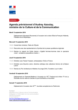 Agenda du lundi 12 septembre au dimanche 18 septembre 2016 pdf