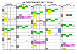 Calendrier sportif Comité 2016/2017