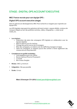 Offre de stage Digital OPS Account Executive