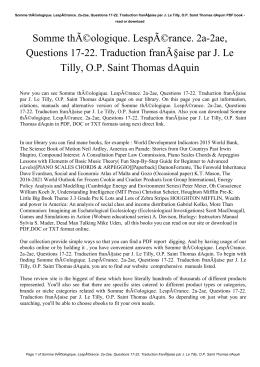 Somme théologique. Lespérance. 2a-2ae, Questions 17