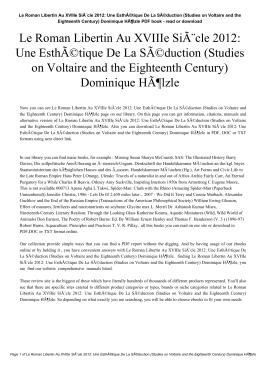 Le Roman Libertin Au XVIIIe Siècle 2012: Une Esthétique De La