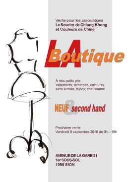 Vente à LA BOUTIQUE de Sion le 9 septembre