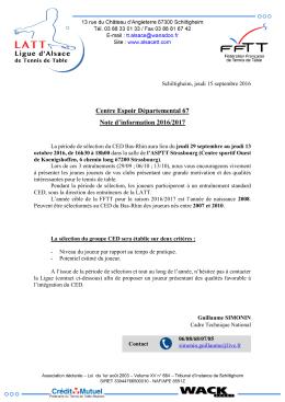 Centre Espoir Départemental 67 Note d`information 2016/2017