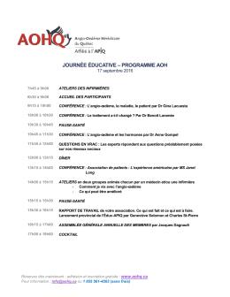 Programme de la journée - AOHQ