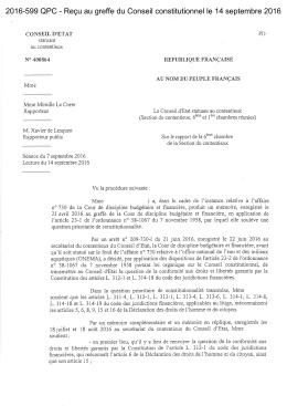 2016-599 QPC - Reçu au greffe du Conseil constitutionnel le 14