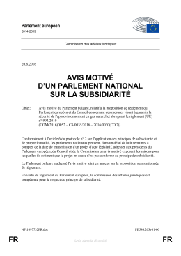 FR FR AVIS MOTIVÉ D`UN PARLEMENT NATIONAL SUR LA