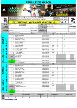 feuille de match - Fédération française de handball