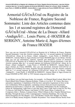 Armorial Général ou Registre de la Noblesse de France