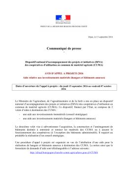 Communiqué de presse - DRAAF Bourgogne - Franche
