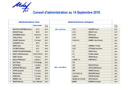 Conseil d`administration au 14 Septembre 2016