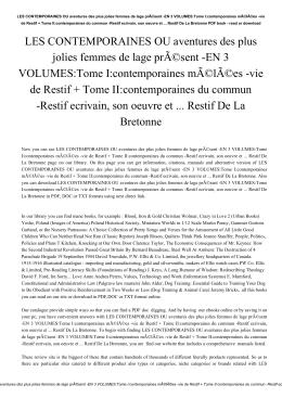 EN 3 VOLUMES:Tome I:contemporaines mélées -vie