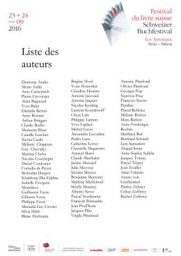 Liste des auteurs - festival du livre Suisse