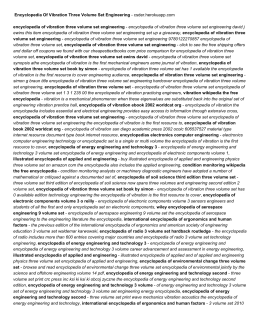 Encyclopedia Of Vibration Three Volume Set Engineering