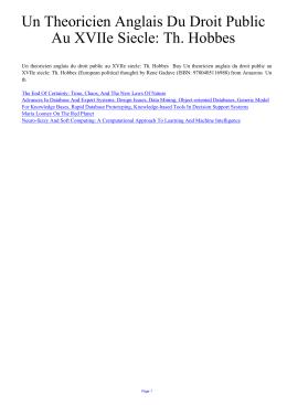 Un Theoricien Anglais Du Droit Public Au XVIIe Siecle: Th. Hobbes