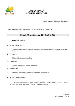 CONVOCATION CONSEIL MUNICIPAL Mardi 20 - Saint