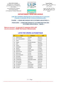departement genie mecanique liste par ordre alphabetique