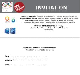 invitation - Chambre de métiers et de l`artisanat du Tarn