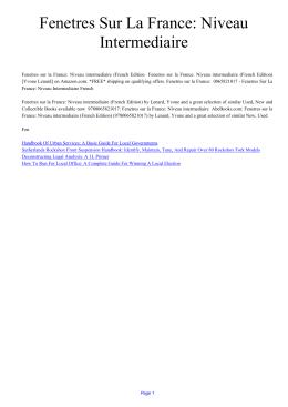 Fenetres Sur La France: Niveau Intermediaire