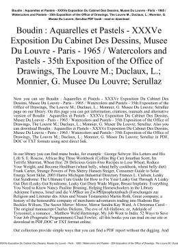 XXXVe Exposition Du Cabinet Des Dessins, Musee Du Louvre