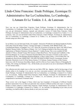 LIndo-Chine Francaise: Etude Politique, Ecomique Et Administrative