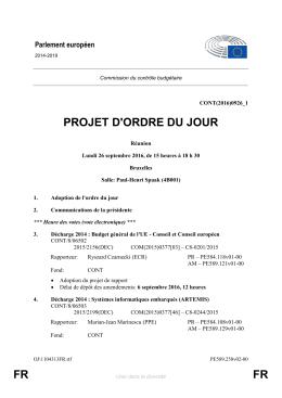 FR FR PROJET D`ORDRE DU JOUR