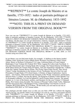 **REPRINT** Le comte Joseph de Maistre et sa famille, 1753