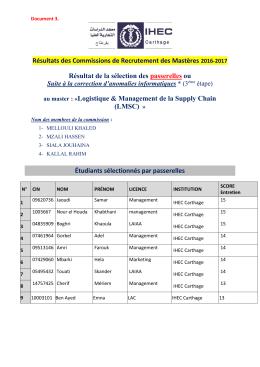 Résultats des Commissions de Recrutement des Mastères