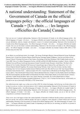A national understanding: Statement of the Government of Canada