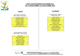 liste tap maternelles module 1 du 12 septembre