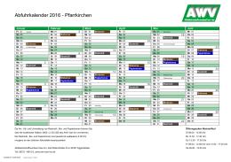 Abfuhrkalender 2016 - Pfarrkirchen - Abfallwirtschaftsverband Isar-Inn