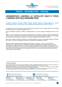 ARIANESPACE TO LAUNCH GSAT