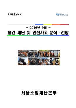월간 재난 및 안전사고 분석, 전망_201609