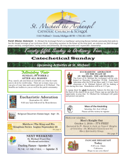 Upcoming Ac vi es at St. Michael Catechetical Sunday