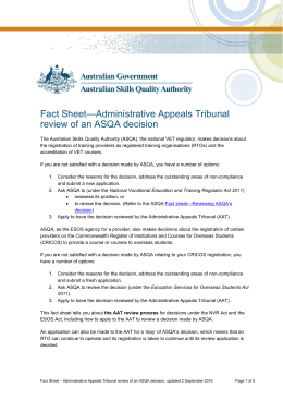 Fact sheet—AAT review of an ASQA decision